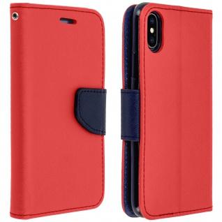 Fancy Style Flip-Cover für Apple iPhone X / XS, Kartenfach & Standfunktion - Rot