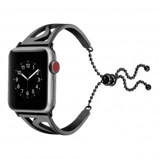 Apple Watch 42/44 mm Edelstahl Armbanduhr mit Kugelkette ? Schwarz