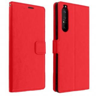 Flip Stand Case Brieftasche & Standfunktion für Sony Xperia 1 II - Rot