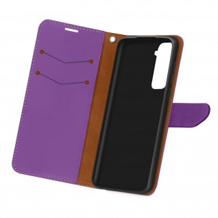 Kunstlederetui, Handyhülle mit Geldbörse für Samsung Galaxy S21 - Violett