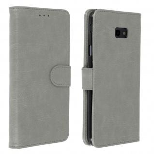 Flip Cover Geldbörse, Klappetui Kunstleder für Samsung Galaxy J4 Plus - Grau