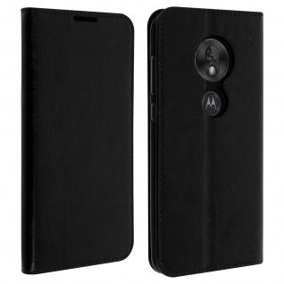 Business Leder Cover, Schutzhülle mit Geldbörse Motorola Moto G7 Play - Schwarz