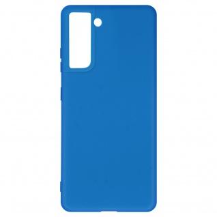 Halbsteife Silikon Handyhülle für Samsung Galaxy S21, Soft Touch ? Blau