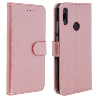 Flip Cover Geldbörse, Klappetui Kunstleder für Xiaomi Redmi Note 7 - Rosegold