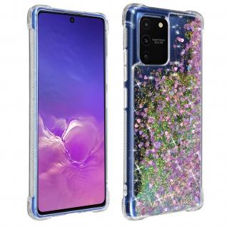 Flexible Samsung Galaxy S10 Lite Silikon Bumper Hülle, Glitter Design - Violett