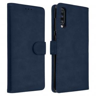 Flip Cover Geldbörse, Klappetui Kunstleder für Samsung Galaxy A70 - Dunkelblau