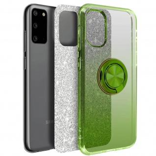 Glitter Silikonhülle mit Ring Halterung für Samsung Galaxy S20 - Grün