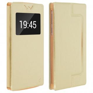 Universal Klappetui, Hülle mit Sichtfenster für Smartphones Größe XL - Gold