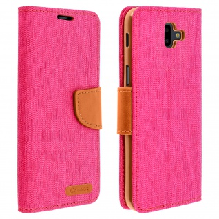 Canvas Serie Flip-Cover für Samsung Galaxy J6 Plus + Standfunktion - Rosa