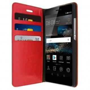 Huawei P8 Flip-Schutzhülle aus Echtleder im Brieftaschenstil - Rot
