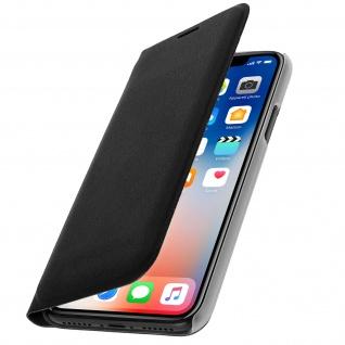 Flip Book Cover Schutzhülle mit Kartenfach für Apple iPhone X - Schwarz