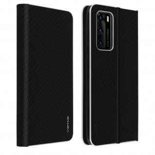 Huawei P40 Klappetui, Cover mit Carbon Design & Ständer - Schwarz