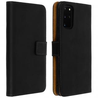Samsung Galaxy S20 Plus Cover aus Echtleder mit Standfunktion- Schwarz