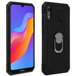 Hybrid Handyhülle mit Ring Halterung für Huawei Y6 2019 - Schwarz