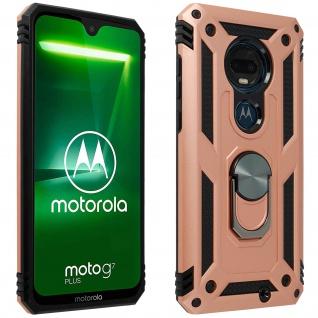 Hybrid Handyhülle mit Ring Halterung für Motorola Moto G7/ G7 Plus - Rosegold