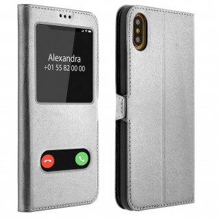 Apple iPhone XS Max Flip Cover mit Doppelfenster & Standfunktion - Silber