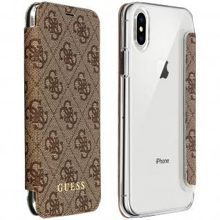 Guess 4G Schutzhülle Flip Cover mit Kartenfächern für Apple iPhone X/ XS - Braun