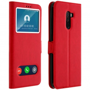 Xiaomi Pocophone F1 Flip Cover mit Doppelfenster & Standfunktion - Rot