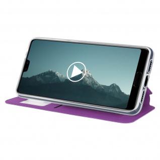 Huawei P20 Flip Cover Sichtfenster & Kartenfach Violett, Silikon - Standfunktion - Vorschau 4