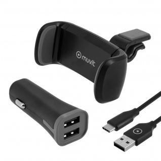 Smartphone KFZ-Halterung + 2A USB Zigaretten-Anzünder + USB-Typ C Ladekabel