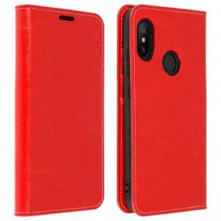 Business Leder Cover, Schutzhülle mit Geldbörse für Xiaomi Mi A2 Lite - Rot