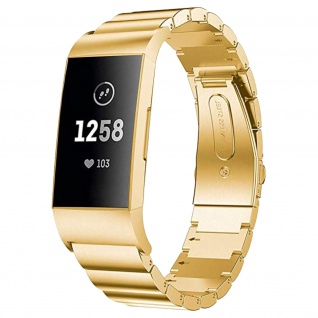 FitBit Charge 3 Armband aus Edelstahl mit Butterfly-Faltschließe - Gold