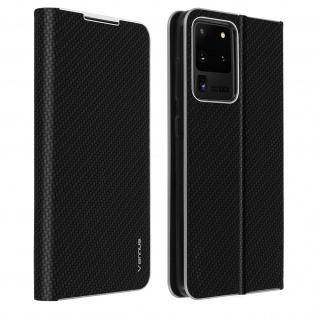 Samsung Galaxy S20 Ultra Klappetui, Cover mit Carbon Design & Ständer - Schwarz