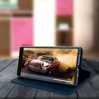 Flip Cover Geldbörse, Kunstleder Klappetui für Sony Xperia 1 - Dunkeblau - Vorschau 4