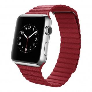 Apple Watch 42 / 44mm Premium-Leder Armband, Lederarmband ? Rot