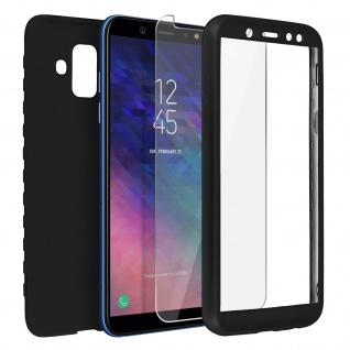 Rundumschutz Samsung Galaxy A6 Silikonhülle Schwarz+ Displayschutzfolie aus Glas