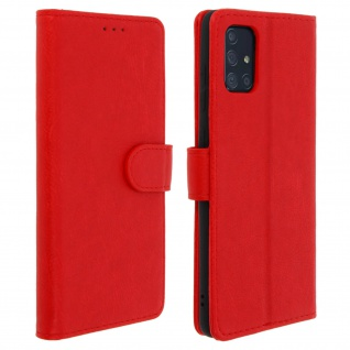 Flip Cover Geldbörse, Klappetui Kunstleder für Samsung Galaxy A71 â€? Rot
