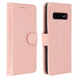 Flip Cover Geldbörse, Klappetui Kunstleder für Samsung Galaxy S10 Plus- Rosegold