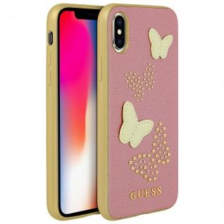 Guess Cover Schmetterling Kunstleder Schutzhülle für Apple iPhone X - Rosa