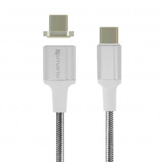 USB-C-Kabel Stecker zu Stecker 5A Magnetisch Abnehmbar 1, 8 m 4 Smarts Silber