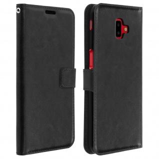 Flip Cover Stand Case Brieftasche & Standfunktion für Galaxy J6 Plus - Schwarz