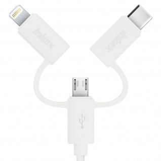 Inkax USB Ladekabel Micro-USB + iPhone/iPad/USB Typ-C Stecker - Länge 1M - Weiß