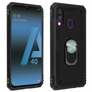 Hybrid Handyhülle mit Ring Halterung für Samsung Galaxy A40 - Schwarz