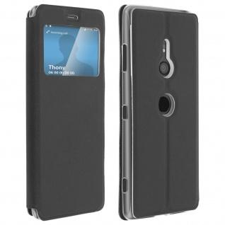 Sony Xperia XZ3 Flip Cover, Klappetui mit Sichtfenster & Kartenfach � Schwarz
