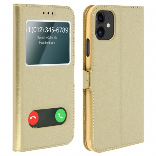 Apple iPhone 11 Flip Cover Doppelfenster & Standfunktion - Gold