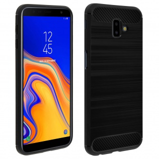 Samsung Galaxy J6 Plus Silikon Schutzhülle mit Carbon/Aluminium Look - Schwarz