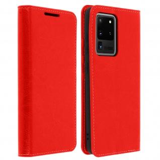 Business Leder Cover, Schutzhülle mit Geldbörse Samsung Galaxy S20 Ultra - Rot