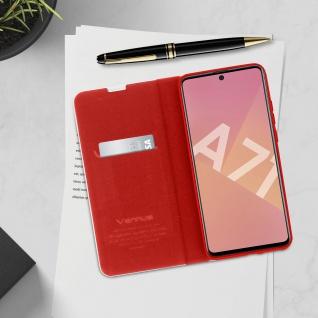Samsung Galaxy A71 Klappetui, Cover mit Carbon Design & Ständer ? Rot - Vorschau 4