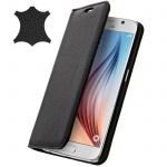 Samsung Galaxy S6 Flip-Schutzhülle aus Echtleder im Brieftaschenstil - Schwarz