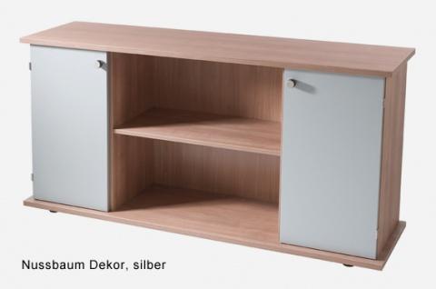 Büro Sideboard Hammerbacher Basic 2 OH 166 x 45 x 84 cm Nussbaum silber
