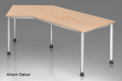 J-Schreibtisch Hammerbacher H-Serie 210 x 113 cm Ahorn Dekor