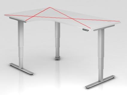 Tischgestell elektrisch höhenverstellbar HMB Xanten Aktiv 112 x 192 cm Alu Silber