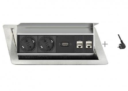 Einbausteckdose EVL Flipp Topp Push 4er Element 2fach-Steckdose HDMI 2 x RJ45