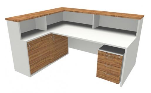 Empfangstheke Arbeitsplatz Pendo Strato Basic L-Form 2 Auswahl Farbe Optionen - Vorschau 1