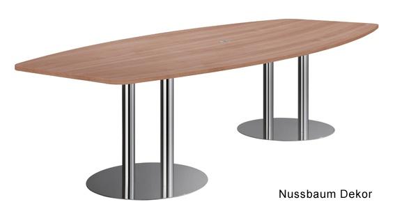 Konferenztisch Hammerbacher KT-Serie D 280 x 130-78 cm Noyer Chrom