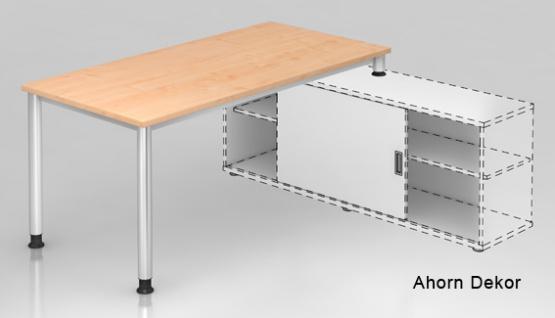 Schreibtisch Auflieger Hammerbacher H-Serie180 x 160 cm Ahorn Dekor